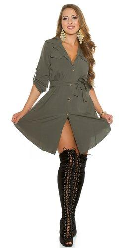 Gombíkové mini šaty | Khaky