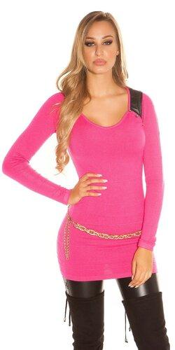 Dámsky dlhý sveter s aplikáciami koženého vzhľadu | Ružová