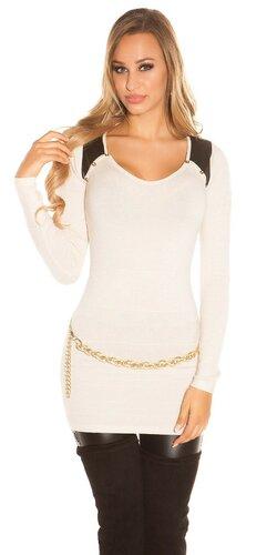 Dámsky dlhý sveter s aplikáciami koženého vzhľadu | Béžová