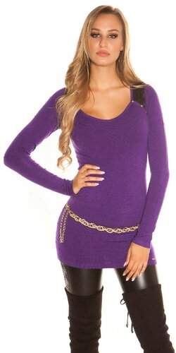 Dámsky dlhý sveter s aplikáciami koženého vzhľadu | Fialová
