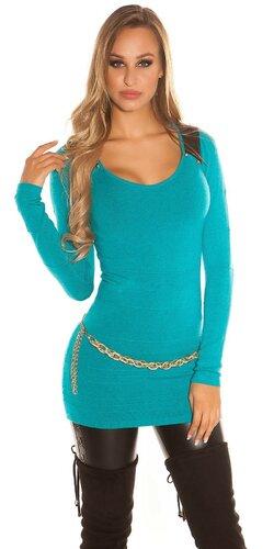 Dámsky dlhý sveter s aplikáciami koženého vzhľadu | Zafírová