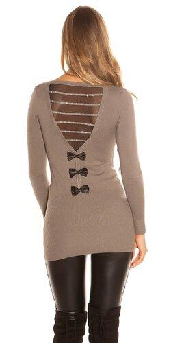 Dlhý sveter s mašľami na zadnej strane | Cappuccino