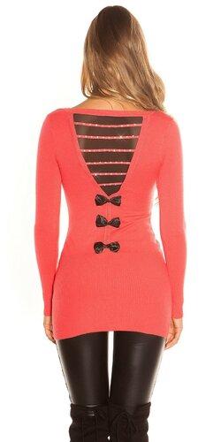 Dlhý sveter s mašľami na zadnej strane | Koralová