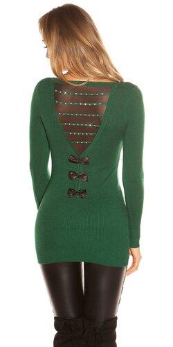 Dlhý sveter s mašľami na zadnej strane | Zelená