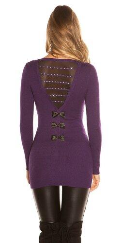 Dlhý sveter s mašľami na zadnej strane | Fialová