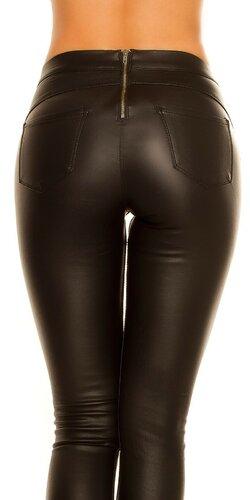 Kožené nohavice - Termo tregíny Čierna