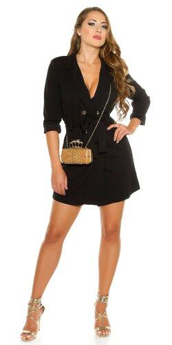 Gombíkové mini šaty s dlhými rukávmi | Čierna