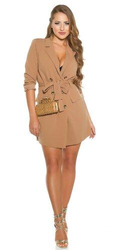 Gombíkové mini šaty s dlhými rukávmi | Cappuccino