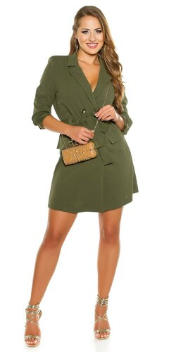 Gombíkové mini šaty s dlhými rukávmi | Khaky