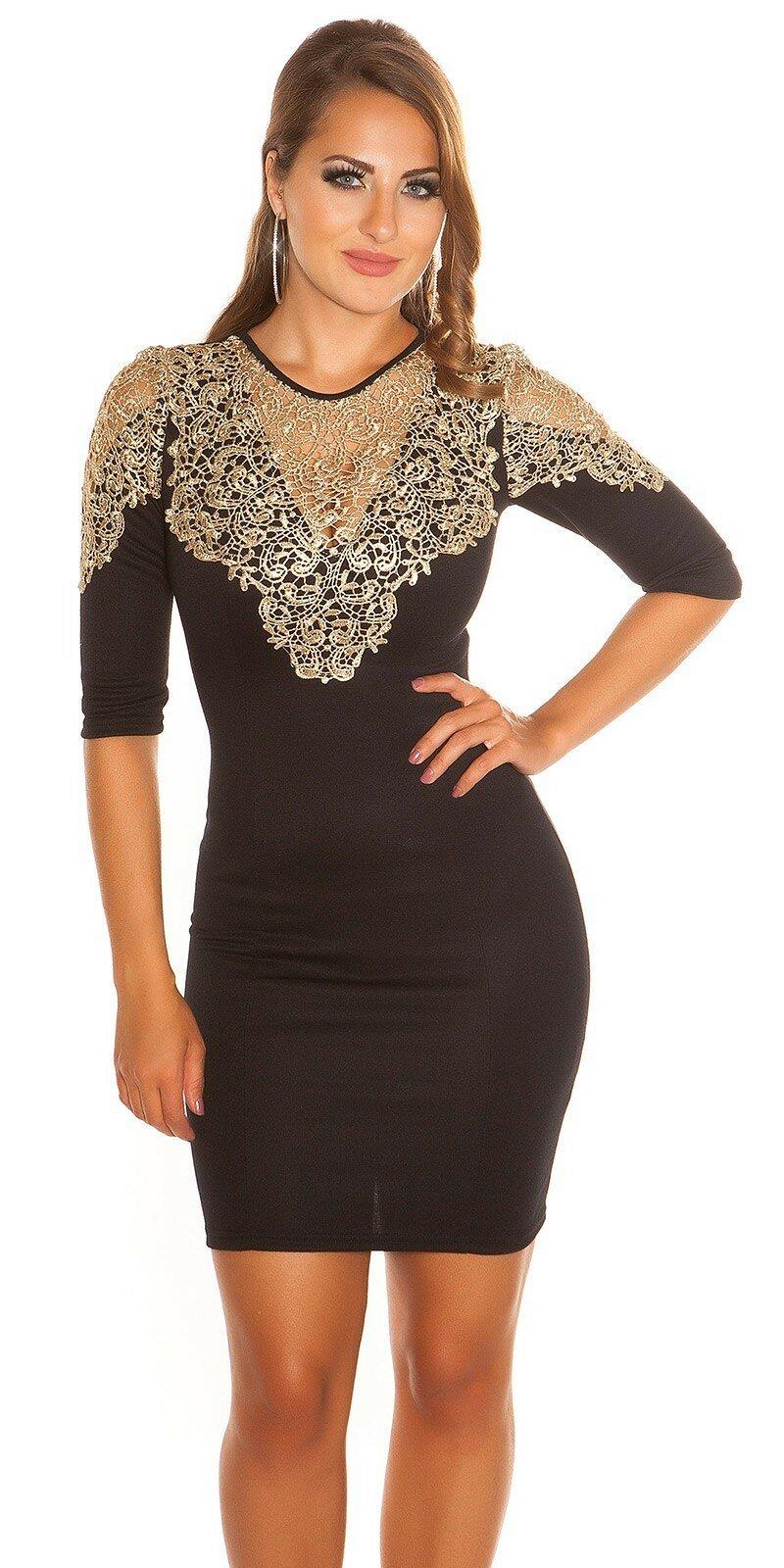 cb60eeaf0 Dámske Štýlové šaty so zlatou čipkou #Veľkosť S Farba Čierna