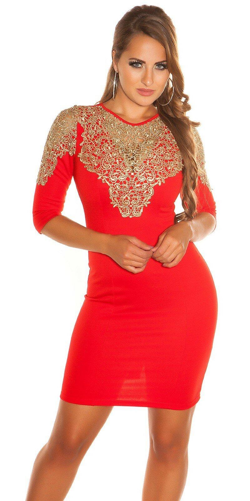 6049838a0d80 Dámske Štýlové šaty so zlatou čipkou  Veľkosť L Farba Červená