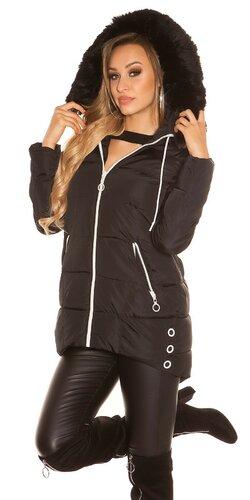 Dlhá zimná bunda s čiernymi zipsami | Čierna