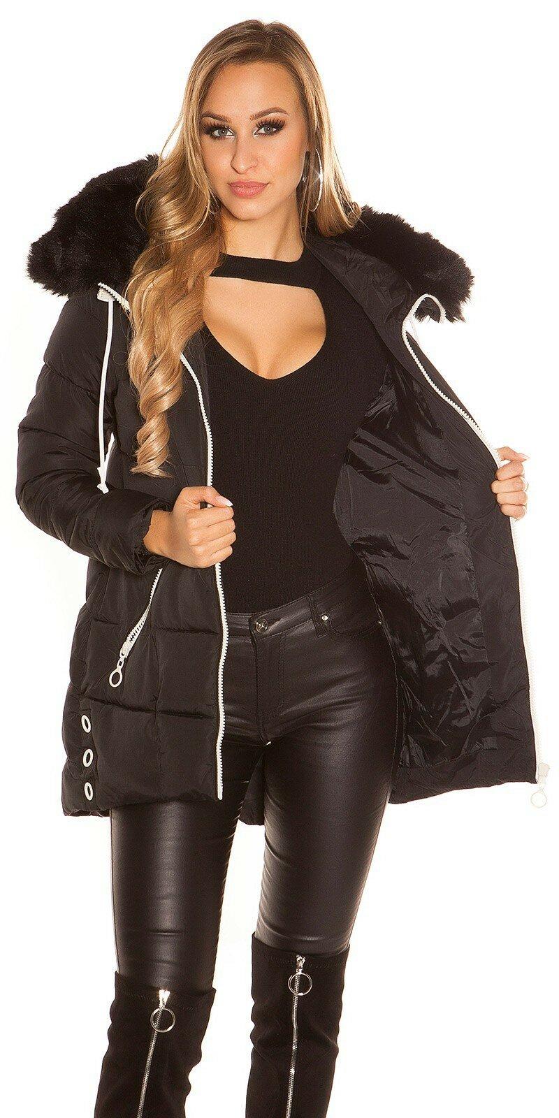 Dlhá zimná bunda s čiernymi zipsami  Veľkosť L Farba Čierna 973bcfd0012