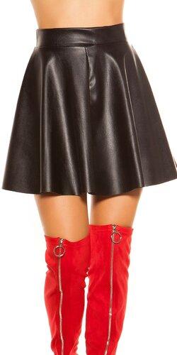 Kožená sukňa so zvýšeným pásom | Čierna