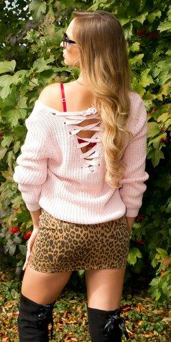 Štrikovaný sveter so šnurovaním | Bledá ružová