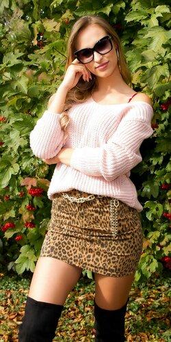 Štrikovaný sveter so šnurovaním Bledá ružová