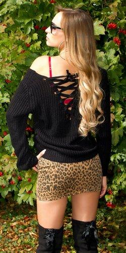 Štrikovaný sveter so šnurovaním | Čierna