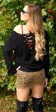 Štrikovaný sveter so šnurovaním Čierna