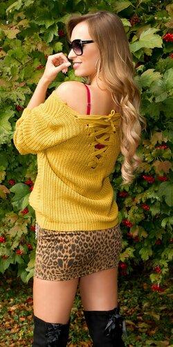 Štrikovaný sveter so šnurovaním | Horčicová