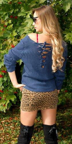 Štrikovaný sveter so šnurovaním | Tmavomodrá