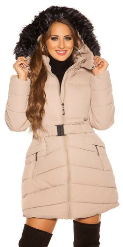 Dlhá prešívaná zimná bunda s kapucňou Béžová