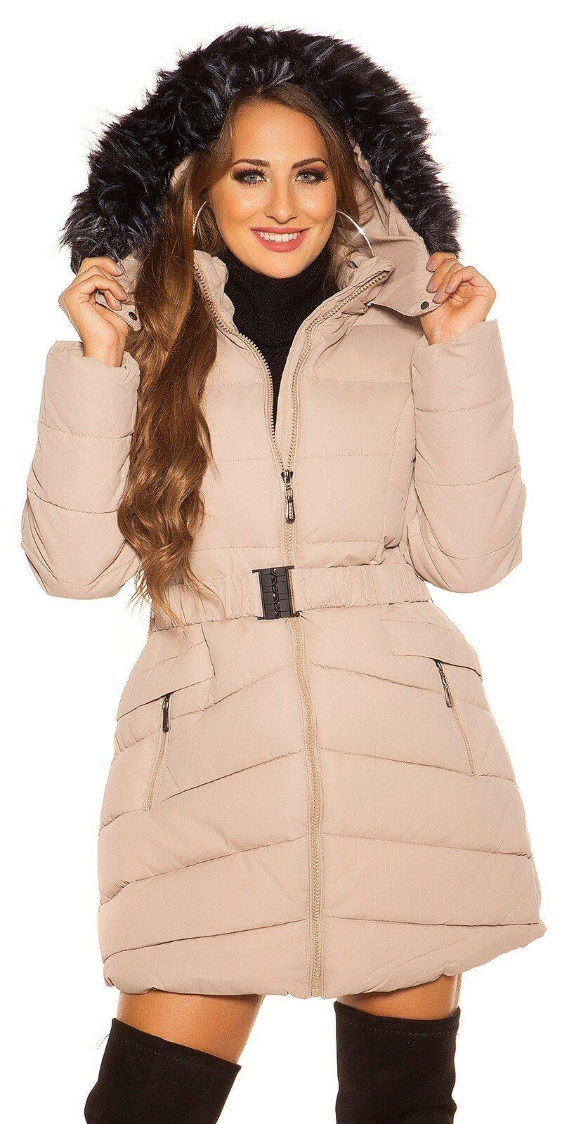 Dlhá prešívaná zimná bunda s kapucňou #Veľkosť S Farba Béžová