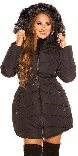 Dlhá prešívaná zimná bunda s kapucňou | Čierna