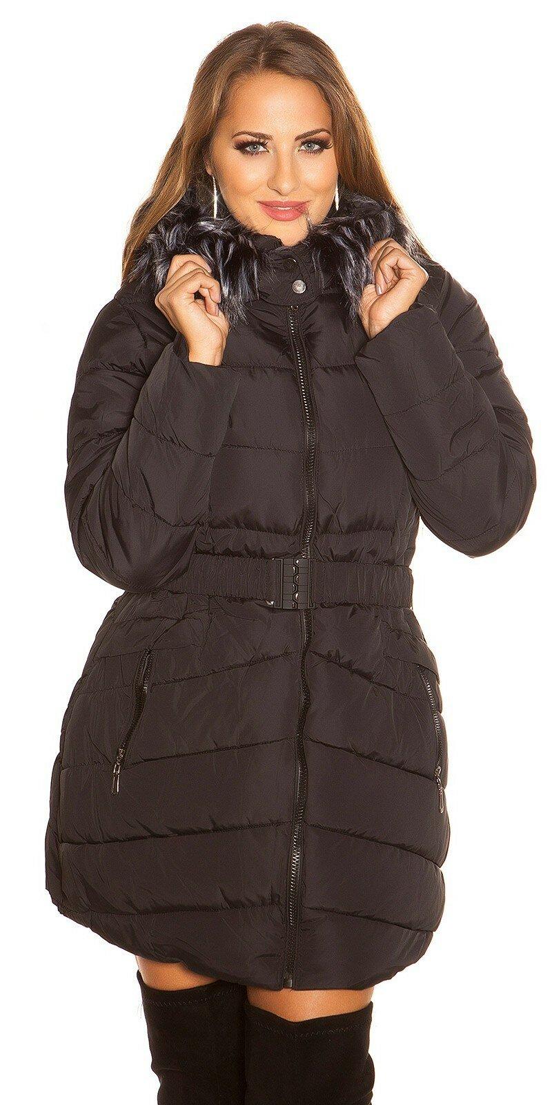 33f198a95165 ... Dlhá prešívaná zimná bunda s kapucňou Čierna ...
