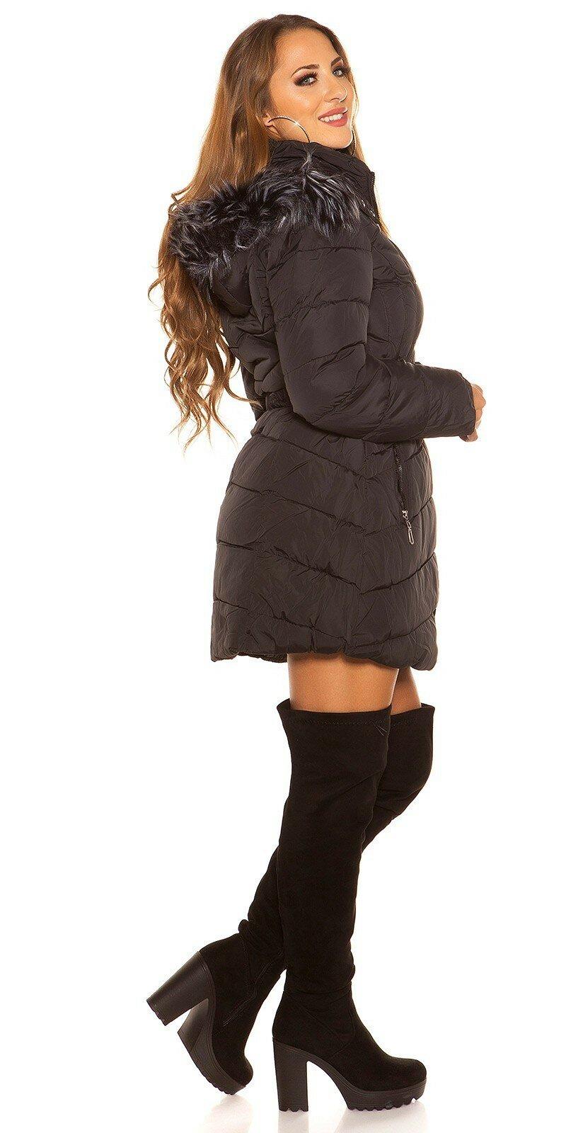 ... Dlhá prešívaná zimná bunda s kapucňou Čierna ... e7d0fd80a43