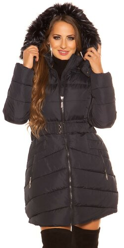 Dlhá prešívaná zimná bunda s kapucňou | Tmavomodrá