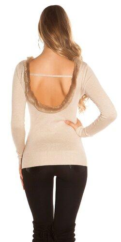 Dámsky sveter s umelou kožušinou Béžová