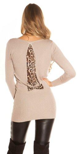 Dámsky svetrík s leopardou podšívkou na zadnej strane
