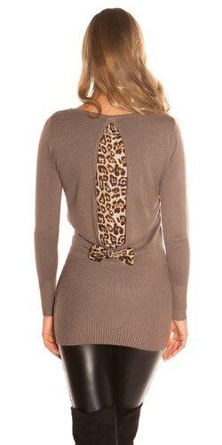 Dámsky svetrík s leopardou podšívkou na zadnej strane   Cappuccino
