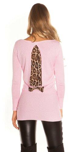 Dámsky svetrík s leopardou podšívkou na zadnej strane   Bledá ružová