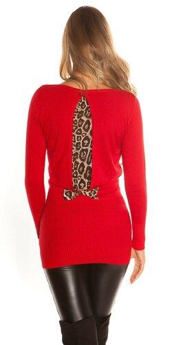 Dámsky svetrík s leopardou podšívkou na zadnej strane   Červená