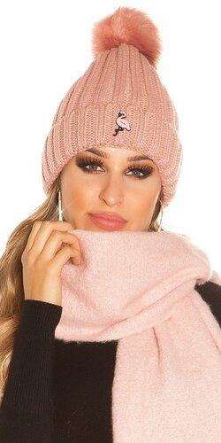 Pletená čapica s plameniakom | Bledá ružová
