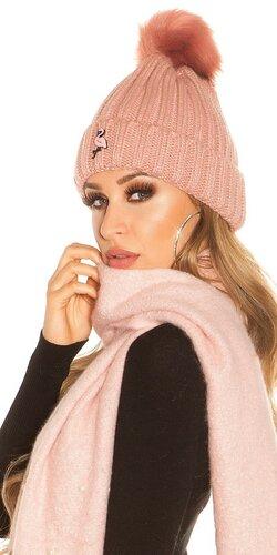 Pletená čapica s plameniakom Bledá ružová
