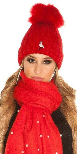Pletená čapica s plameniakom | Červená