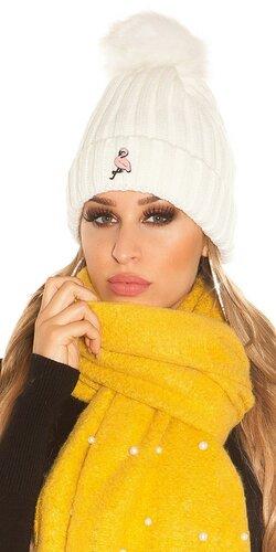 Pletená čapica s plameniakom | Biela