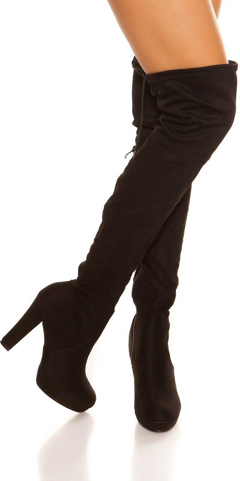 Čierne čižmy semišového vzhľadu  Velkosť topánok 36 Farba Čierna 9b0d14239f7