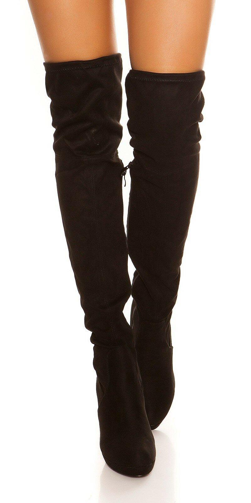 Čierne čižmy semišového vzhľadu - NajlepsiaModa.sk 567579f6d5c