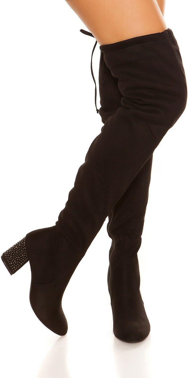 802771813300 Vysoké semišové čižmy na opätku  Velkosť topánok 36 Farba Čierna