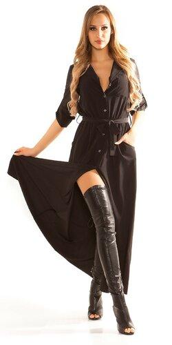 Blúzkové šaty Čierna