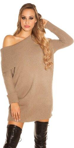 Hrubý pletený sveter KouCla | Cappuccino