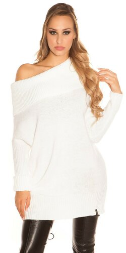 Hrubý pletený sveter KouCla | Biela