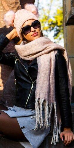 Štýlový veľký šál | Bledá ružová