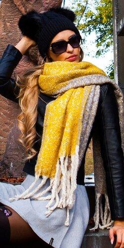 Štýlový veľký šál | Žltá