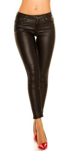 Zateplené kožené nohavice so zipsom a mašľou vzadu Čierna