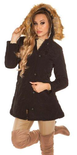 Čierny kabát s kožušinou | Čierna