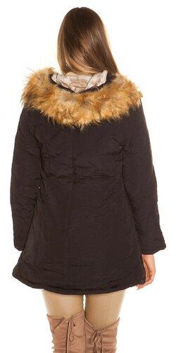 Čierny kabát s kožušinou Čierna